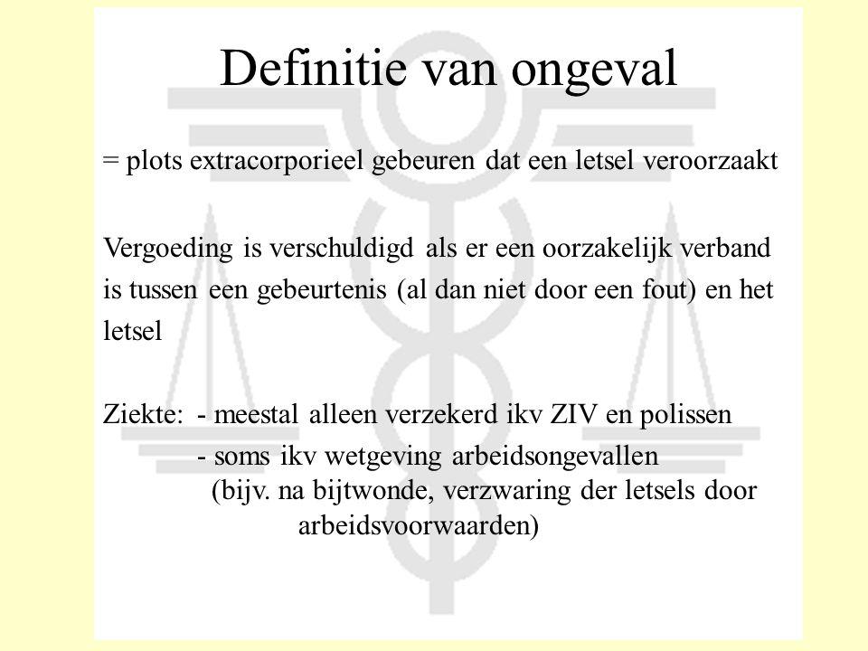 Definitie van ongeval = plots extracorporieel gebeuren dat een letsel veroorzaakt. Vergoeding is verschuldigd als er een oorzakelijk verband.