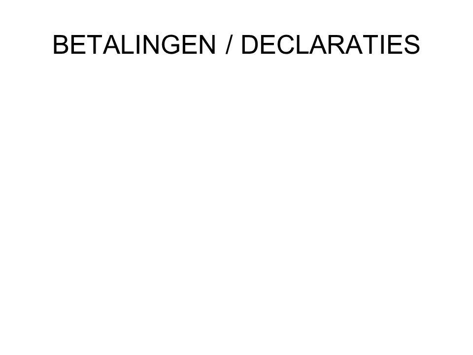 BETALINGEN / DECLARATIES