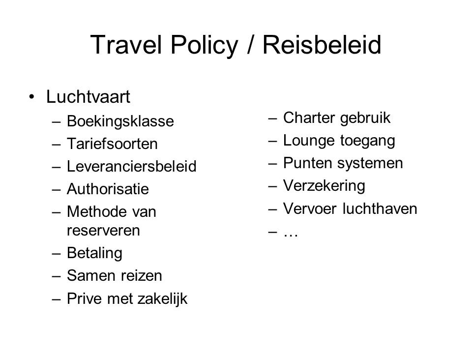 Travel Policy / Reisbeleid