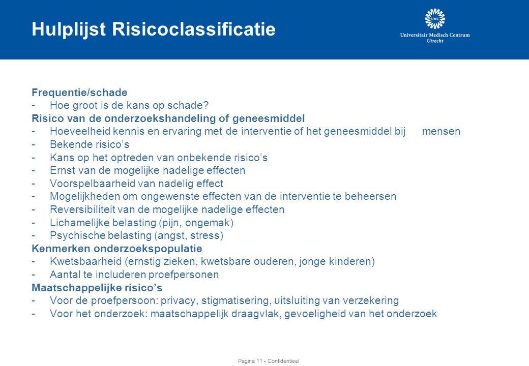 Hulplijst Risicoclassificatie