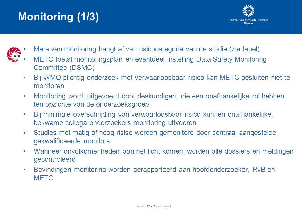 Monitoring (1/3) Mate van monitoring hangt af van risicocategorie van de studie (zie tabel)