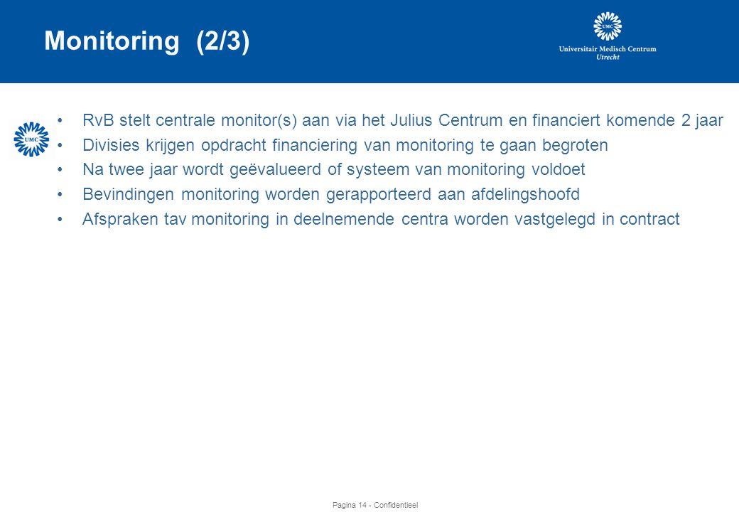 Monitoring (2/3) RvB stelt centrale monitor(s) aan via het Julius Centrum en financiert komende 2 jaar.