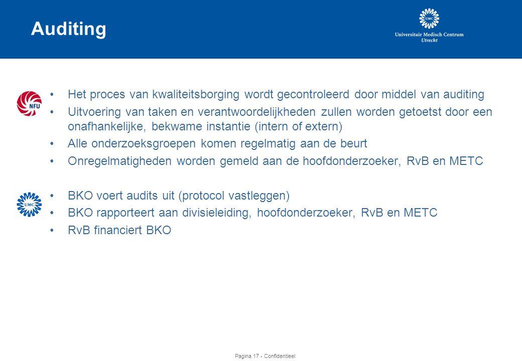 Auditing Het proces van kwaliteitsborging wordt gecontroleerd door middel van auditing.