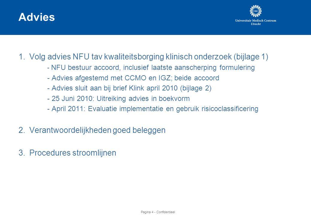 Advies 1. Volg advies NFU tav kwaliteitsborging klinisch onderzoek (bijlage 1) - NFU bestuur accoord, inclusief laatste aanscherping formulering.