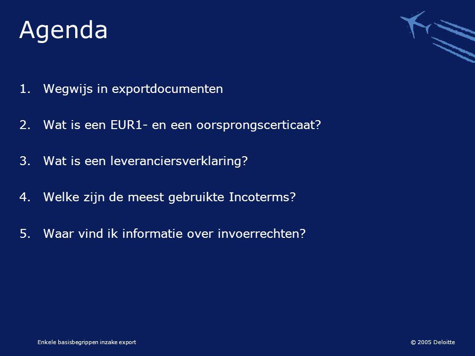 Agenda Wegwijs in exportdocumenten