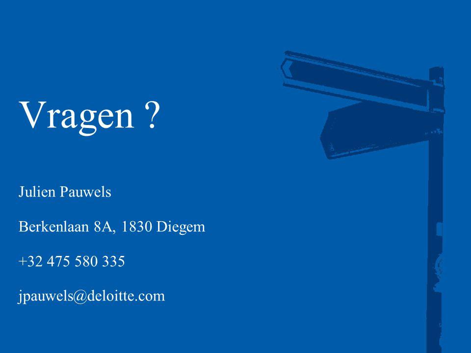 Vragen Julien Pauwels Berkenlaan 8A, 1830 Diegem +32 475 580 335 jpauwels@deloitte.com