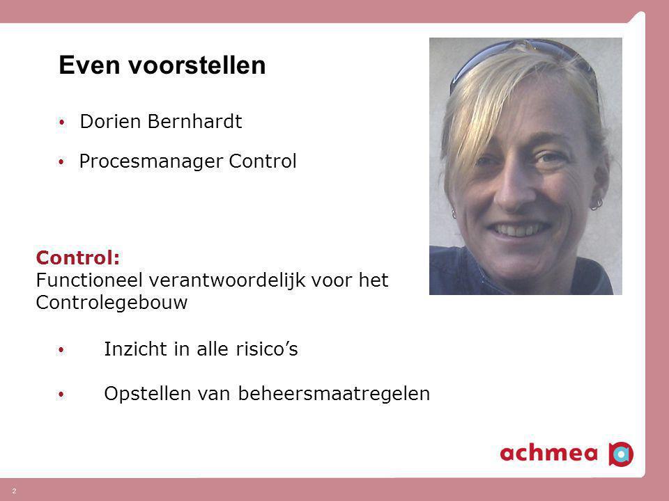 Even voorstellen Dorien Bernhardt Procesmanager Control Control: