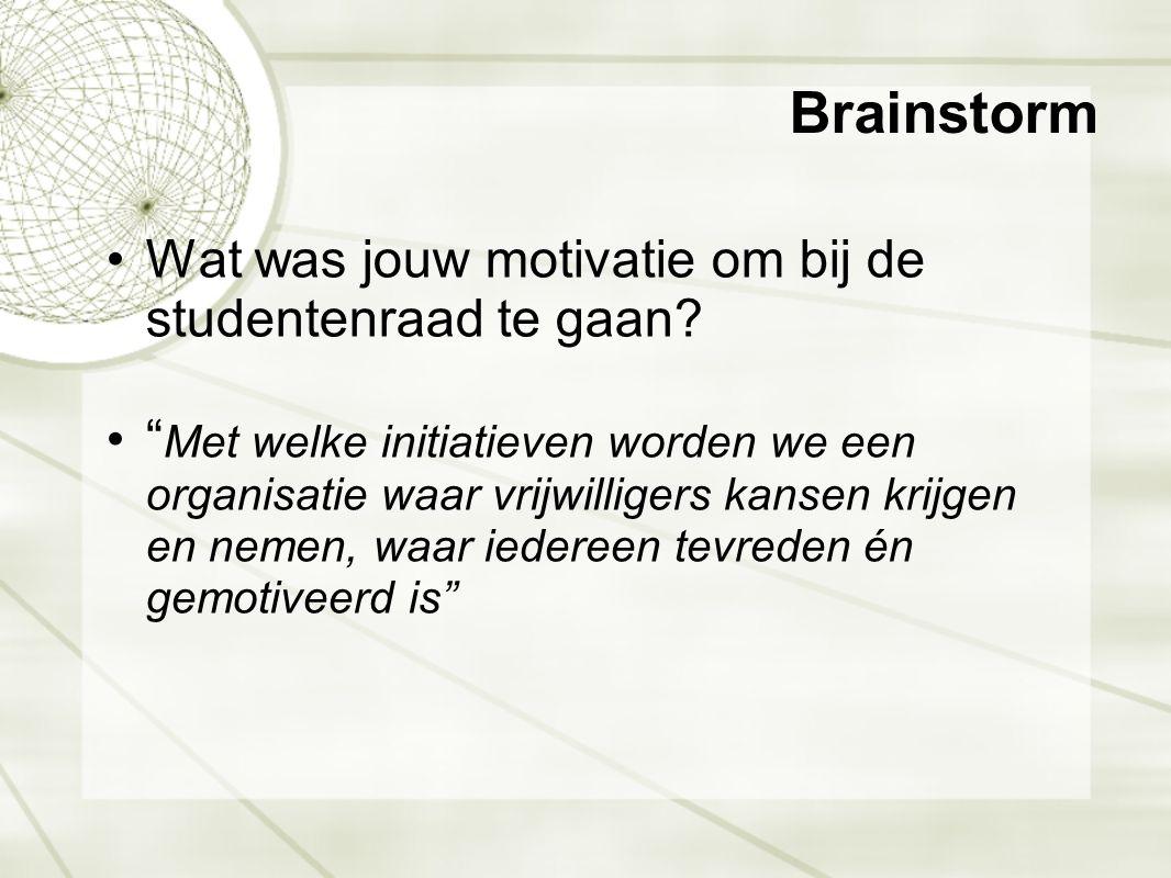 Brainstorm Wat was jouw motivatie om bij de studentenraad te gaan