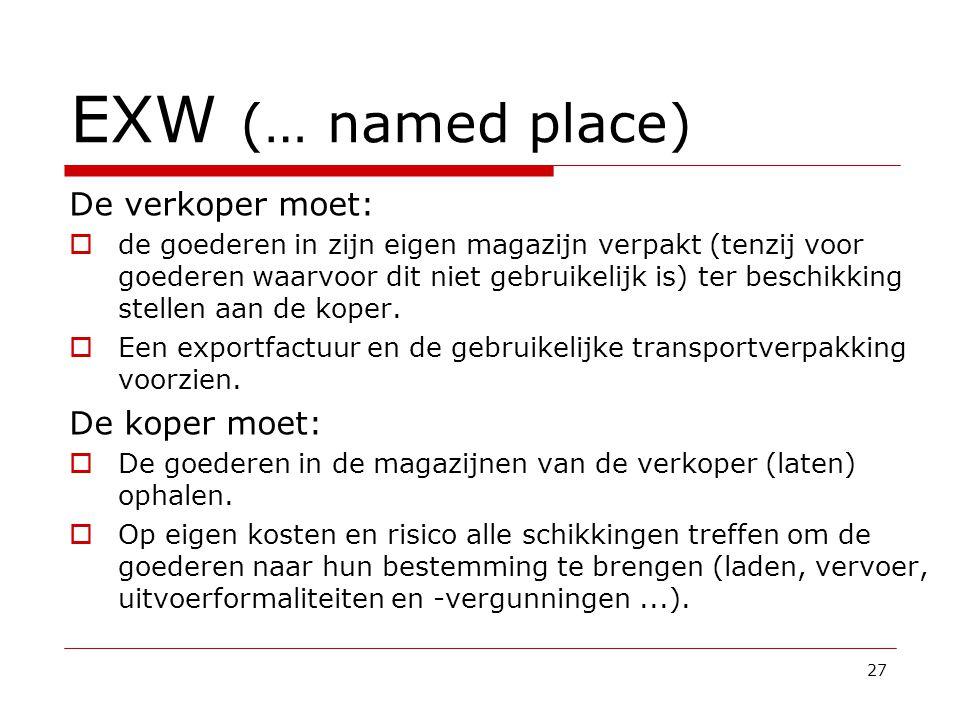 EXW (… named place) De verkoper moet: De koper moet: