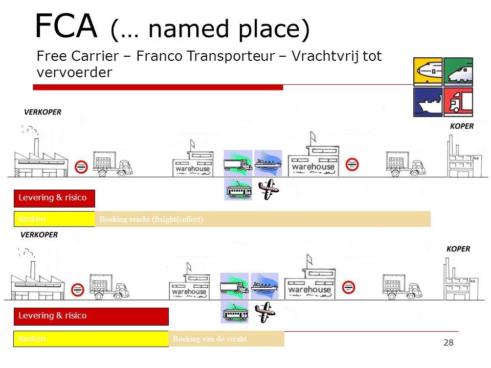 FCA (… named place) Free Carrier – Franco Transporteur – Vrachtvrij tot vervoerder. Levering & risico.