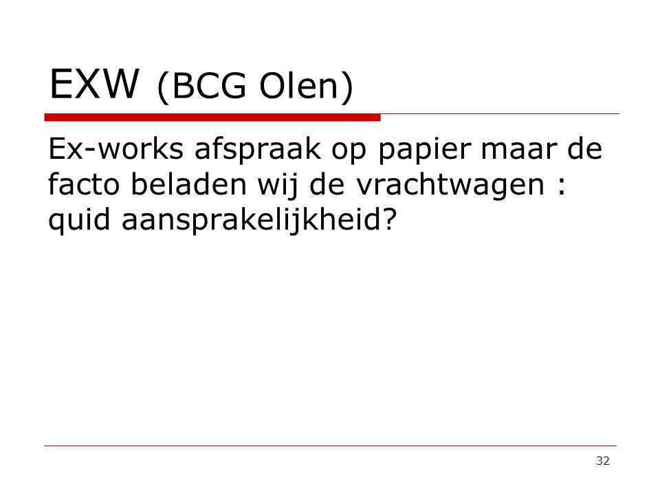 EXW (BCG Olen) Ex-works afspraak op papier maar de facto beladen wij de vrachtwagen : quid aansprakelijkheid