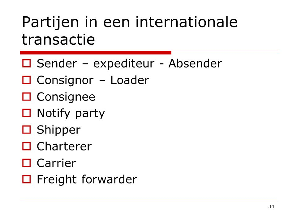 Partijen in een internationale transactie