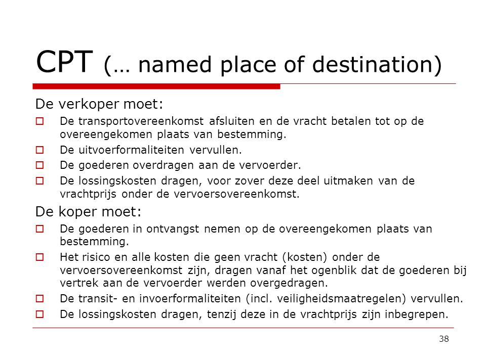 CPT (… named place of destination)