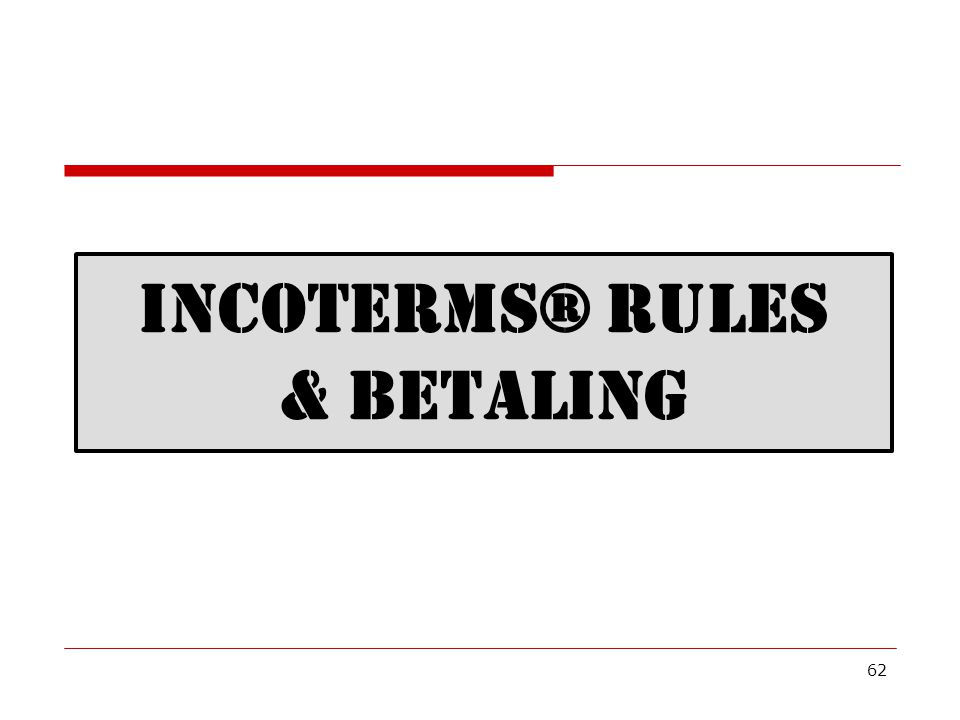 Incoterms® rules & betaling