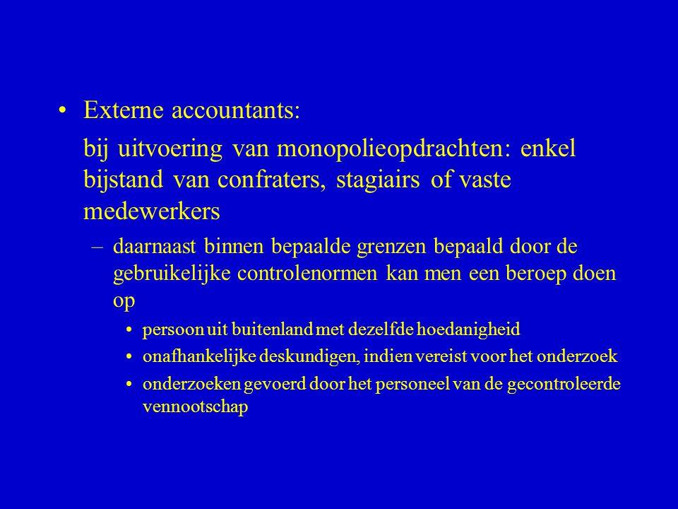 Externe accountants: bij uitvoering van monopolieopdrachten: enkel bijstand van confraters, stagiairs of vaste medewerkers.