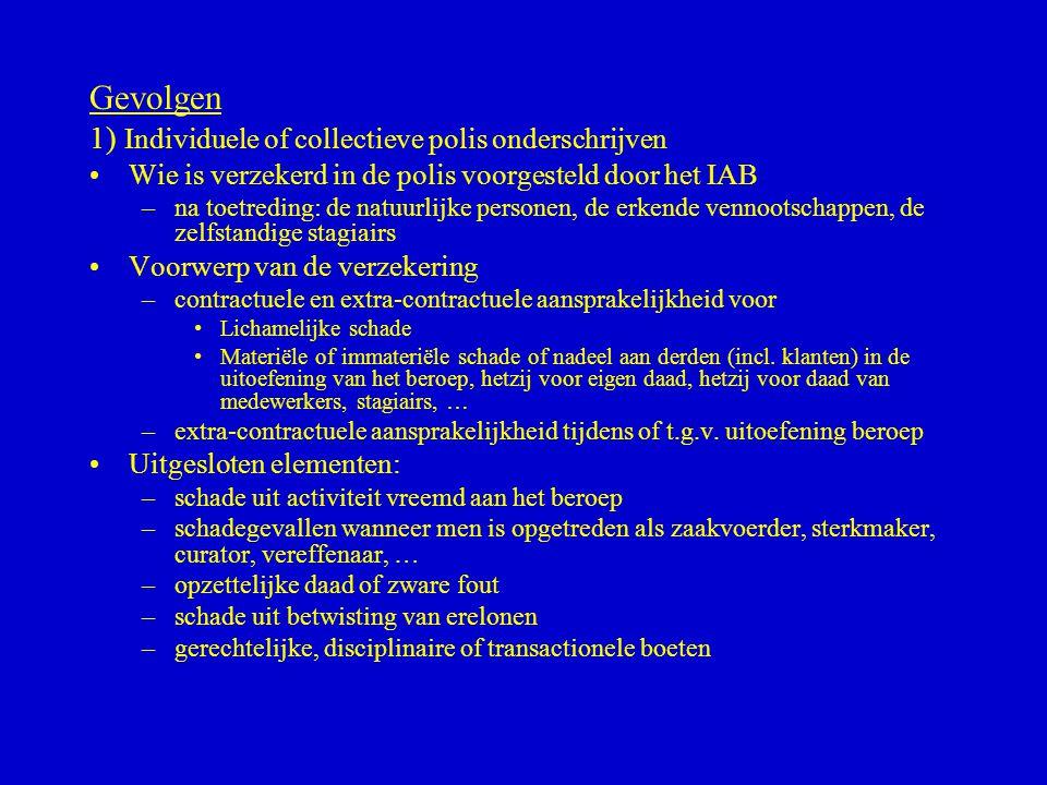Gevolgen 1) Individuele of collectieve polis onderschrijven