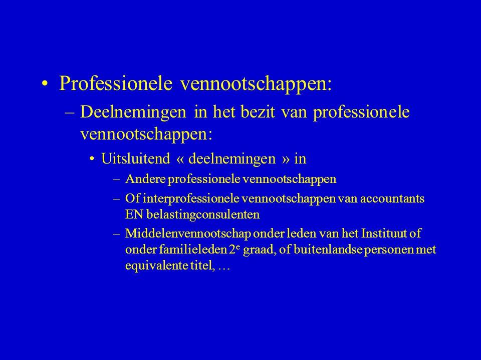 Professionele vennootschappen: