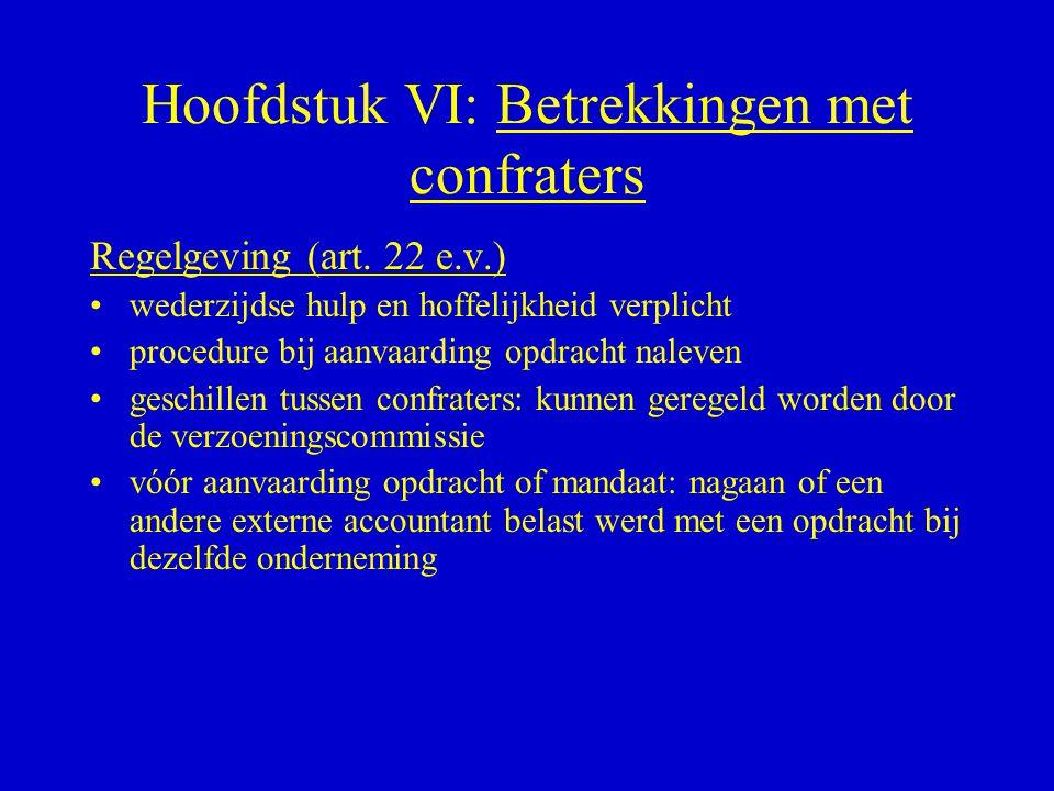 Hoofdstuk VI: Betrekkingen met confraters