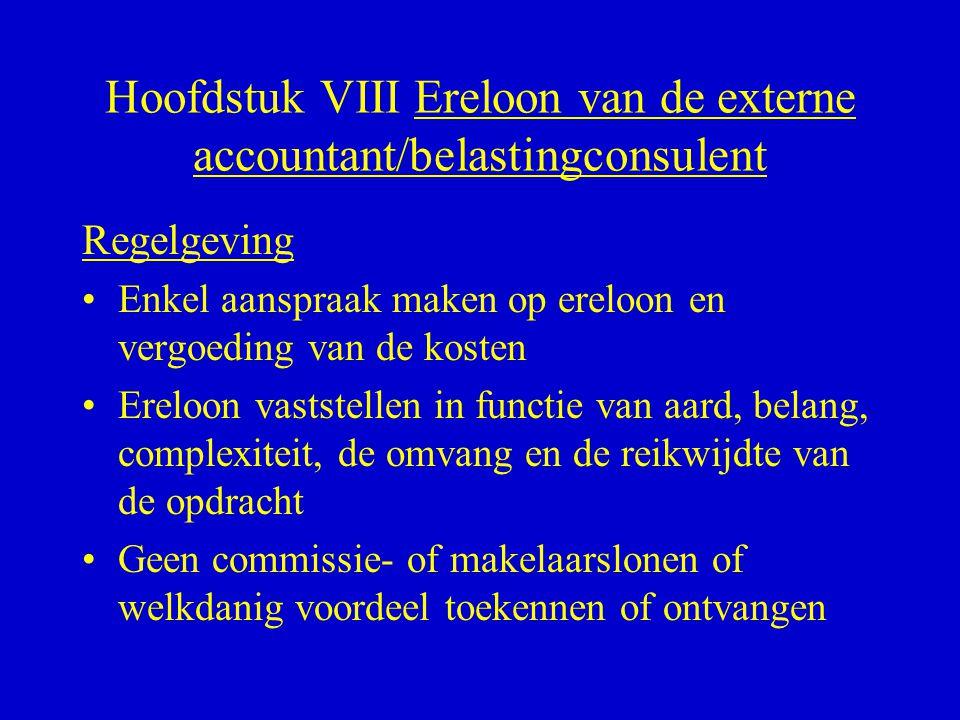 Hoofdstuk VIII Ereloon van de externe accountant/belastingconsulent