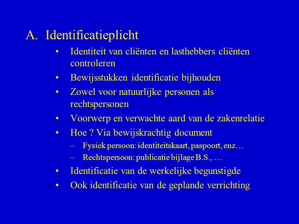Identificatieplicht Identiteit van cliënten en lasthebbers cliënten controleren. Bewijsstukken identificatie bijhouden.
