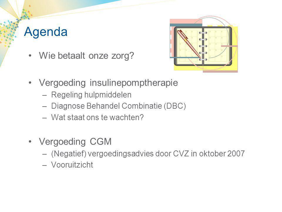 Agenda Wie betaalt onze zorg Vergoeding insulinepomptherapie
