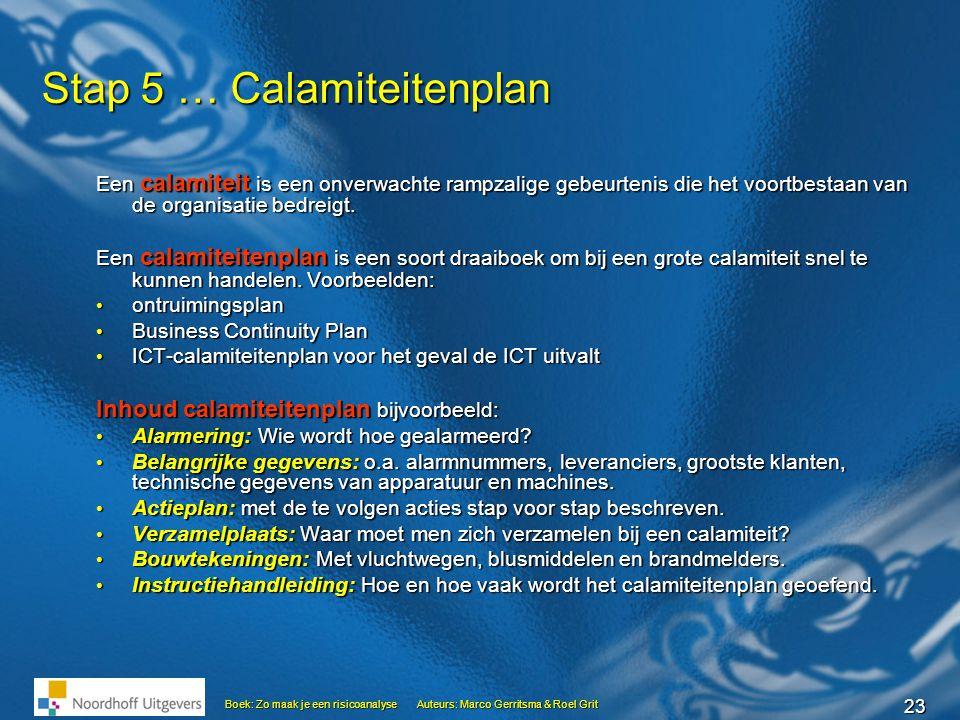 Stap 5 … Calamiteitenplan