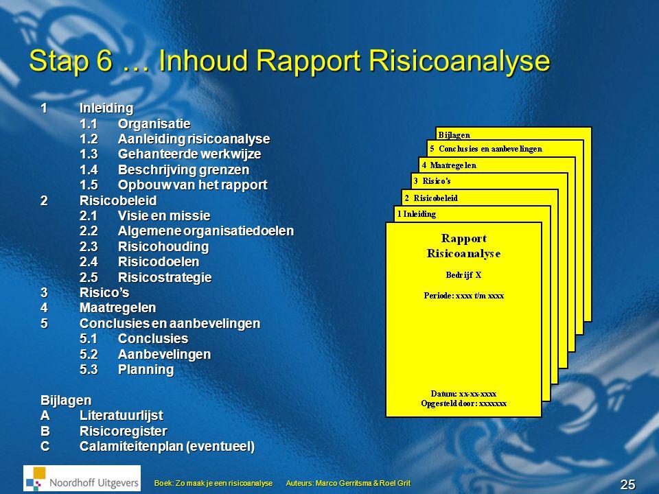 Stap 6 … Inhoud Rapport Risicoanalyse