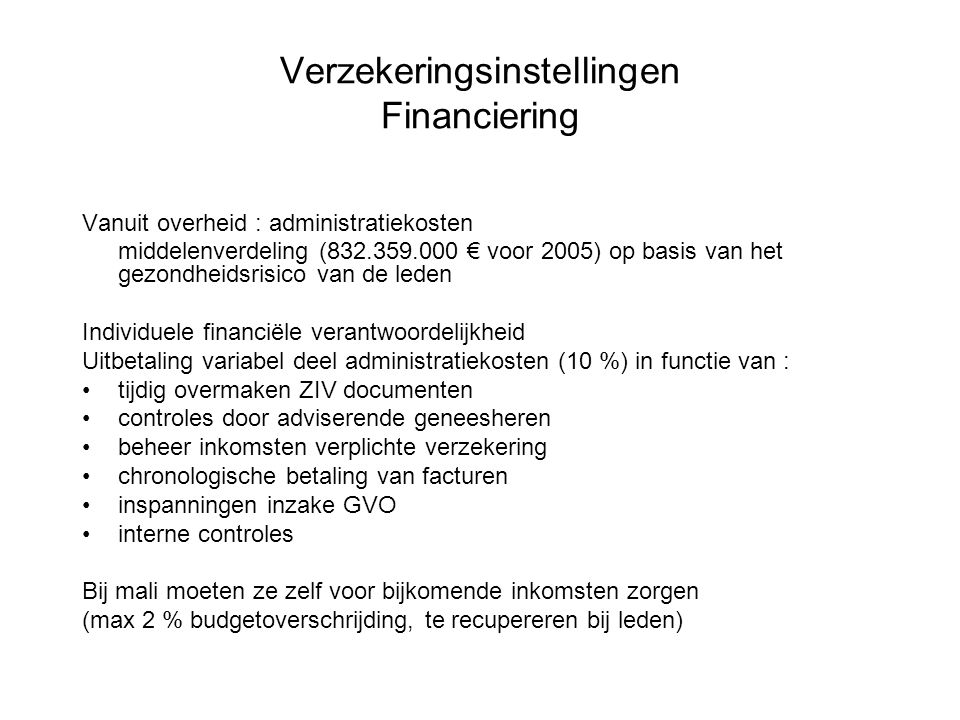 Verzekeringsinstellingen Financiering