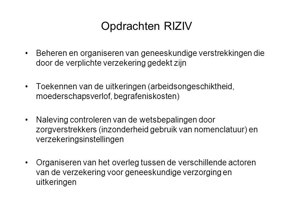 Opdrachten RIZIV Beheren en organiseren van geneeskundige verstrekkingen die door de verplichte verzekering gedekt zijn.