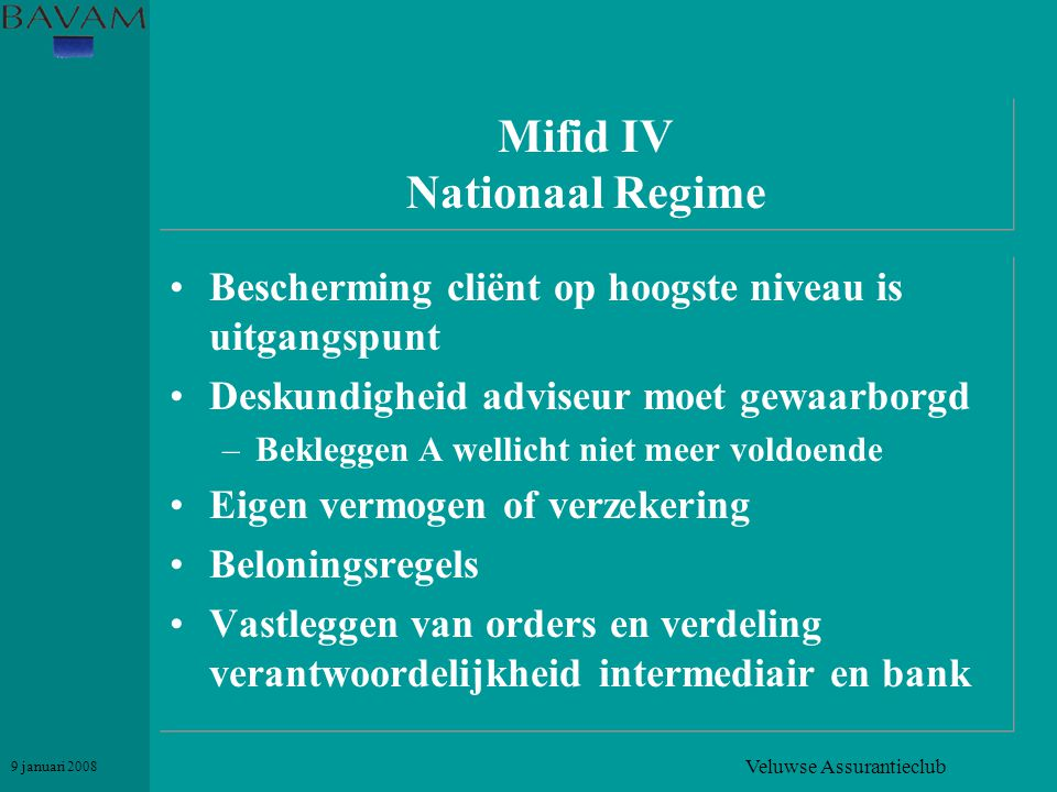 Mifid IV Nationaal Regime