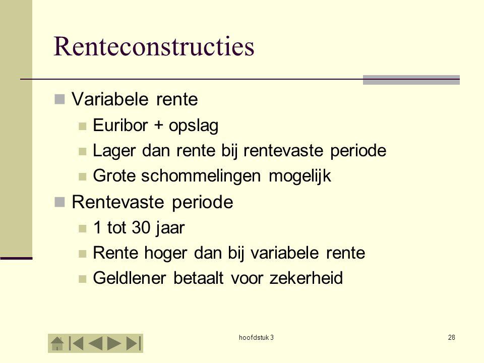 Renteconstructies Variabele rente Rentevaste periode Euribor + opslag