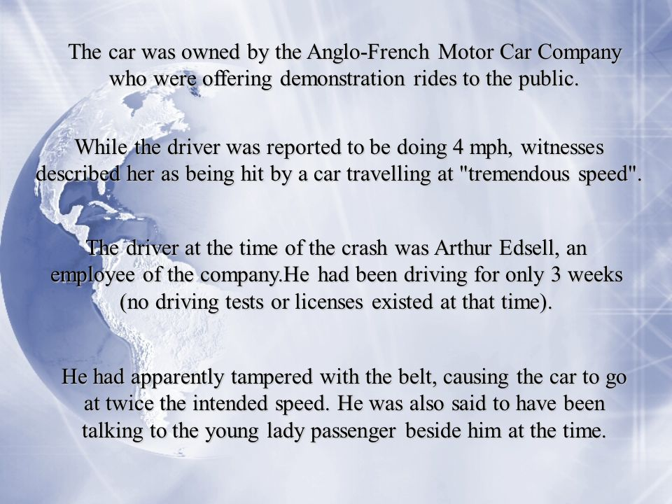 The car was owned by the Anglo-French Motor Car Company who were offering demonstration rides to the public.