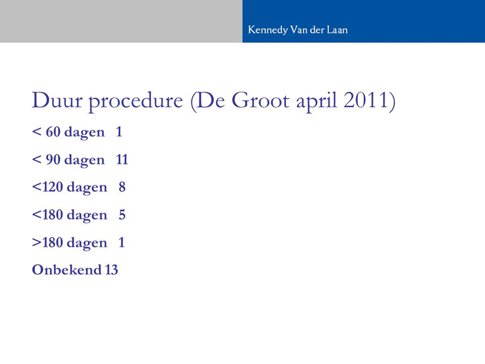 Duur procedure (De Groot april 2011)