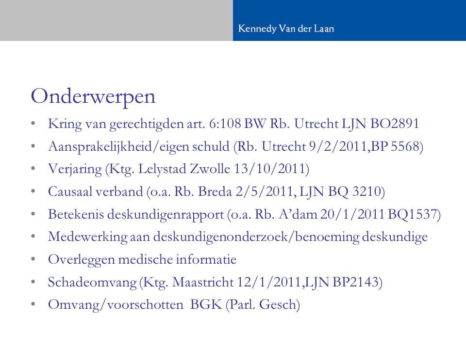 Onderwerpen Kring van gerechtigden art. 6:108 BW Rb. Utrecht LJN BO2891. Aansprakelijkheid/eigen schuld (Rb. Utrecht 9/2/2011,BP 5568)
