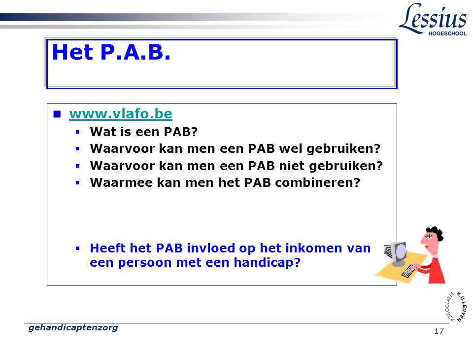 Het P.A.B. www.vlafo.be Wat is een PAB