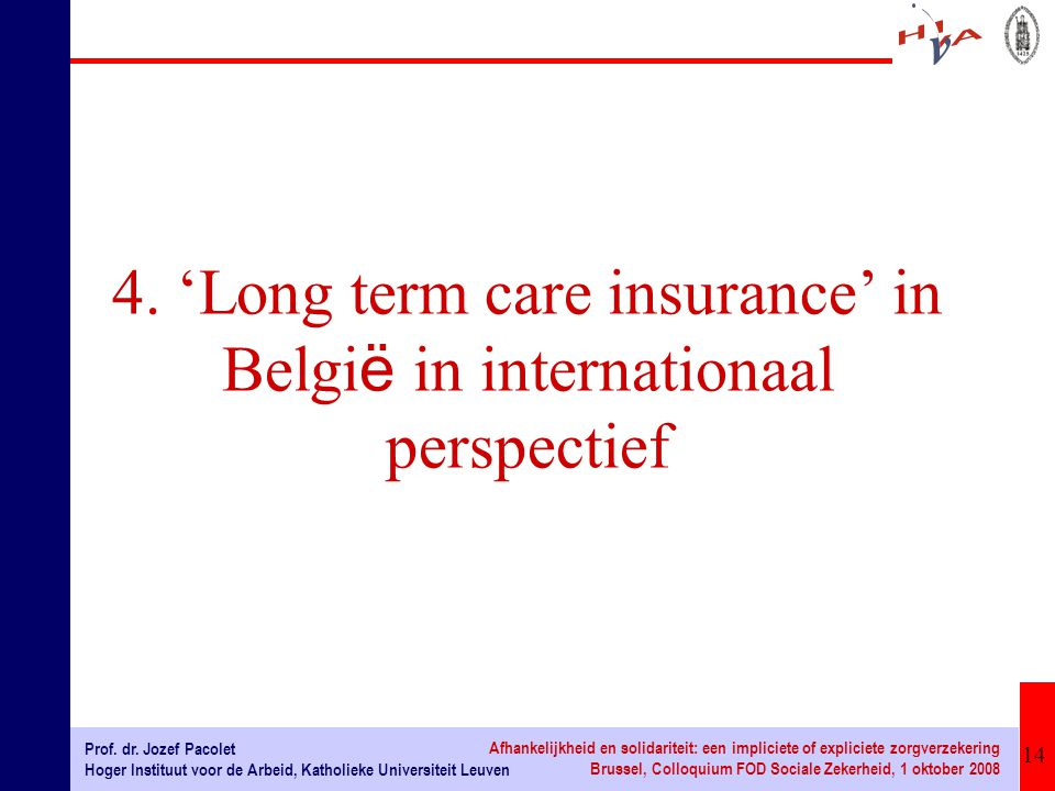 4. 'Long term care insurance' in België in internationaal perspectief