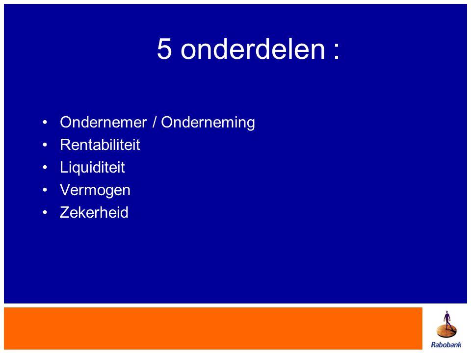 5 onderdelen : Ondernemer / Onderneming Rentabiliteit Liquiditeit
