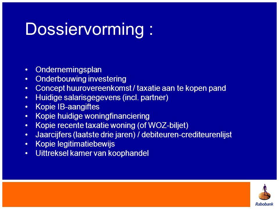 Dossiervorming : Ondernemingsplan Onderbouwing investering