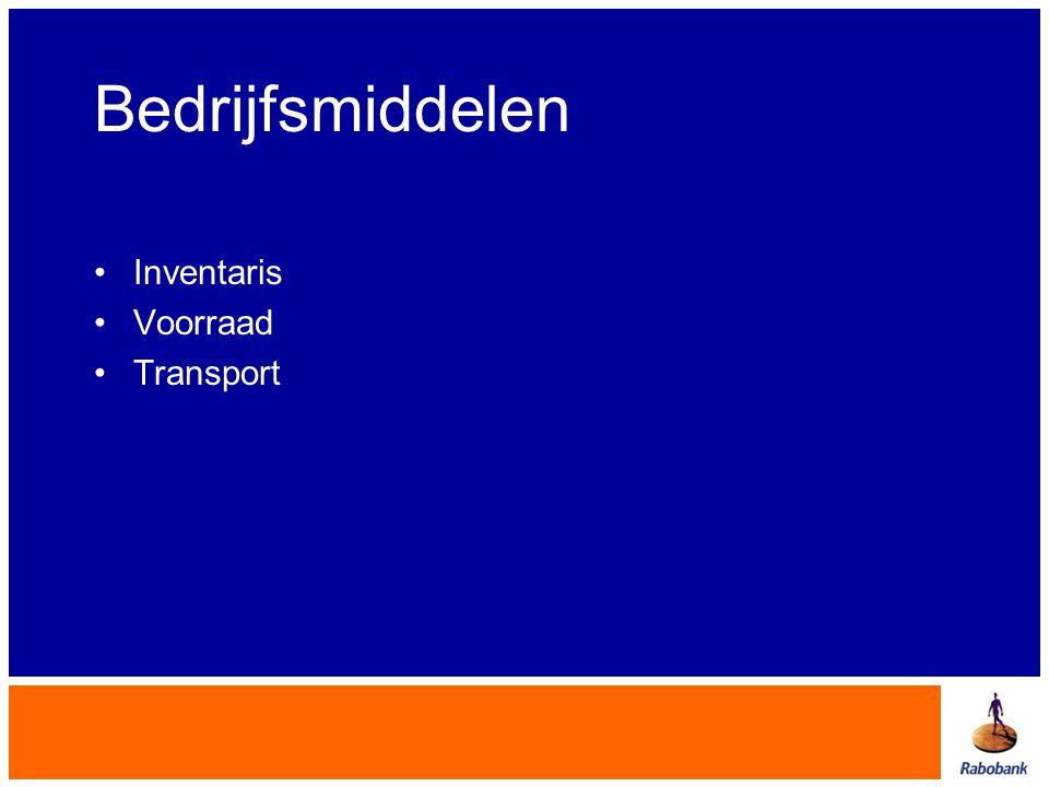 Bedrijfsmiddelen Inventaris Voorraad Transport