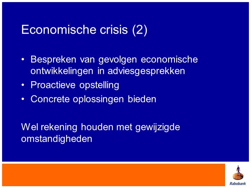 Economische crisis (2) Bespreken van gevolgen economische ontwikkelingen in adviesgesprekken. Proactieve opstelling.