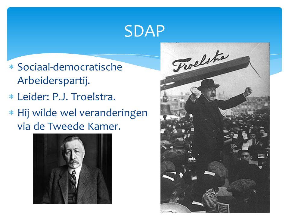 SDAP Sociaal-democratische Arbeiderspartij. Leider: P.J. Troelstra.