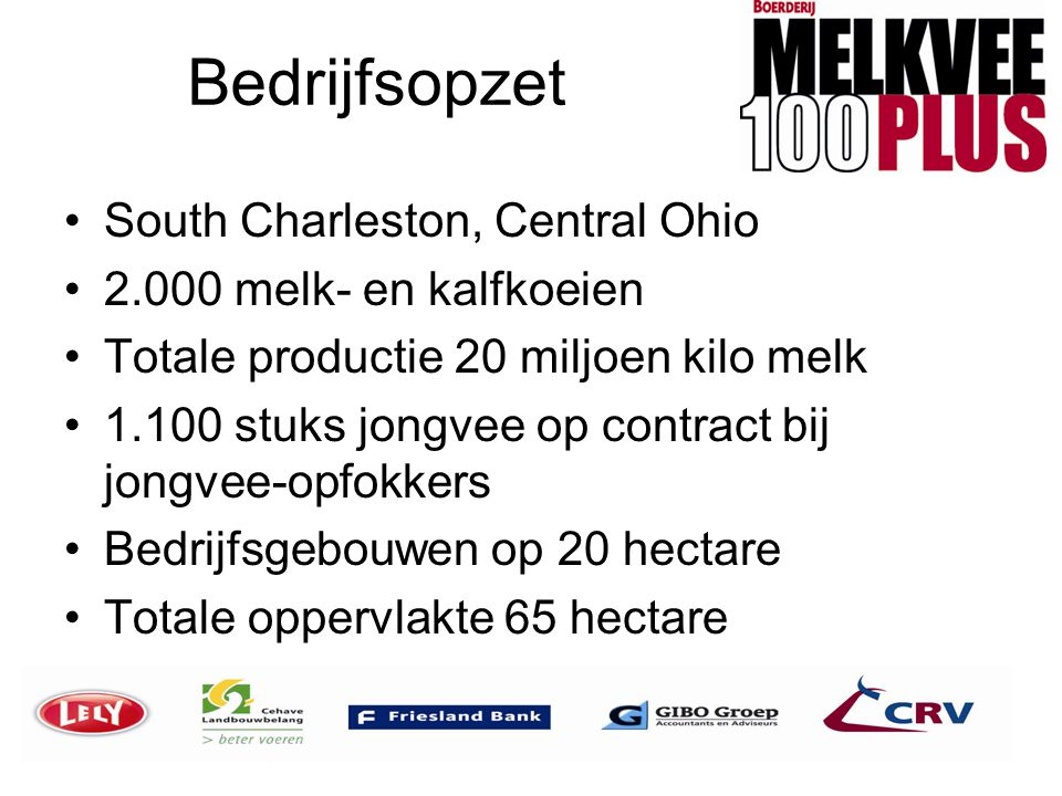 Bedrijfsopzet South Charleston, Central Ohio 2.000 melk- en kalfkoeien