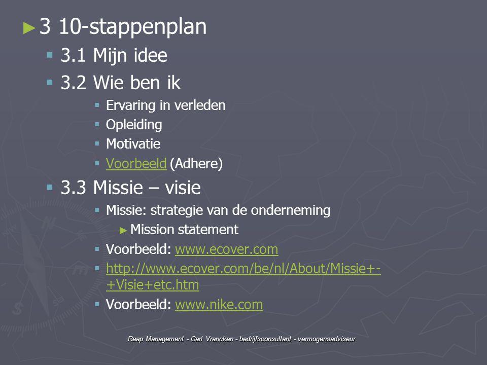 3 10-stappenplan 3.1 Mijn idee 3.2 Wie ben ik 3.3 Missie – visie