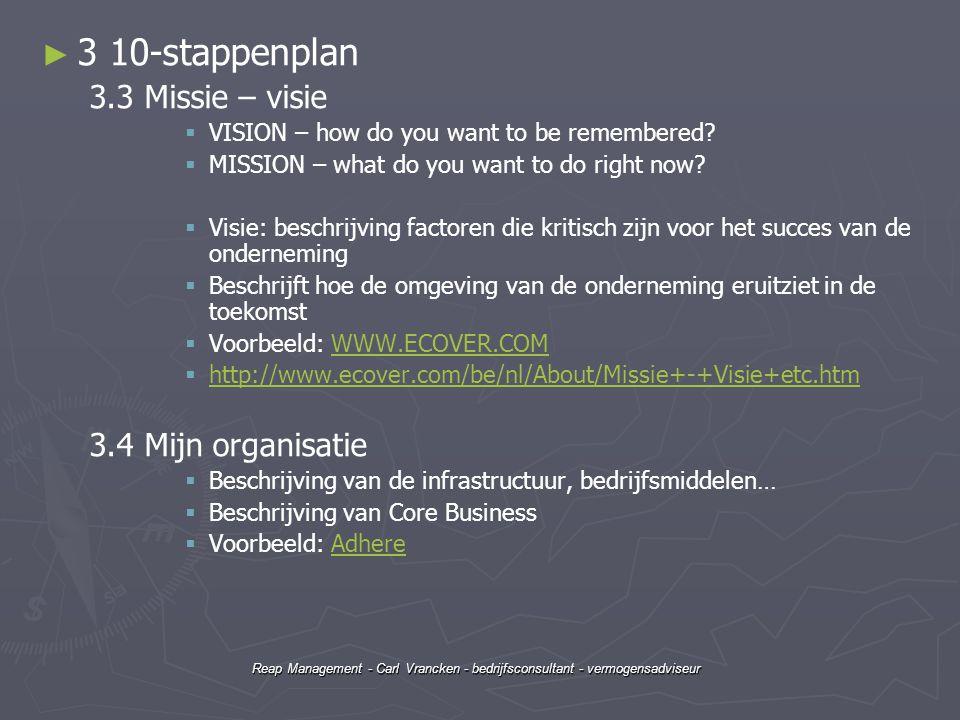 3 10-stappenplan 3.3 Missie – visie 3.4 Mijn organisatie