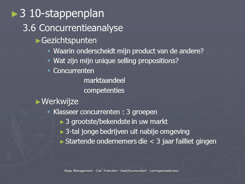 3 10-stappenplan 3.6 Concurrentieanalyse Gezichtspunten Werkwijze