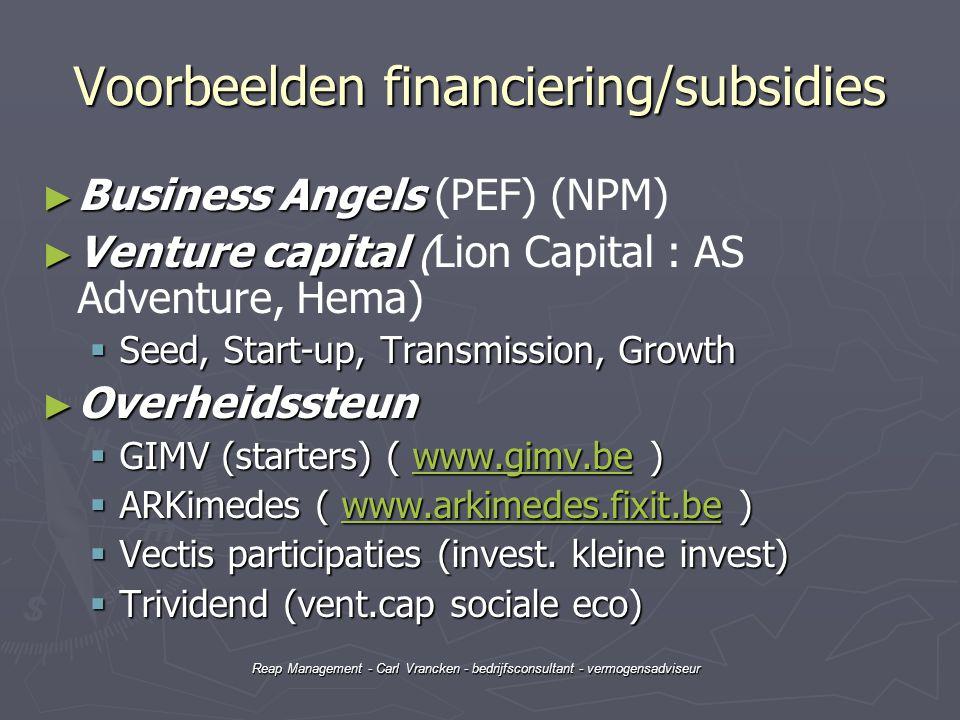 Voorbeelden financiering/subsidies
