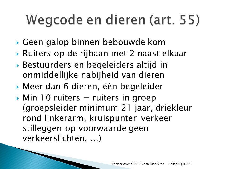 Wegcode en dieren (art. 55)