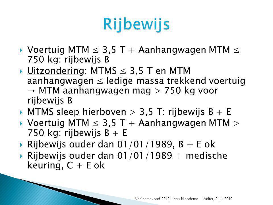 Rijbewijs Voertuig MTM ≤ 3,5 T + Aanhangwagen MTM ≤ 750 kg: rijbewijs B.