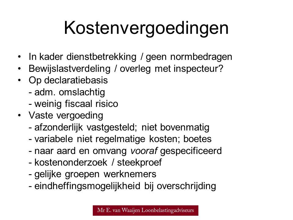 Kostenvergoedingen In kader dienstbetrekking / geen normbedragen
