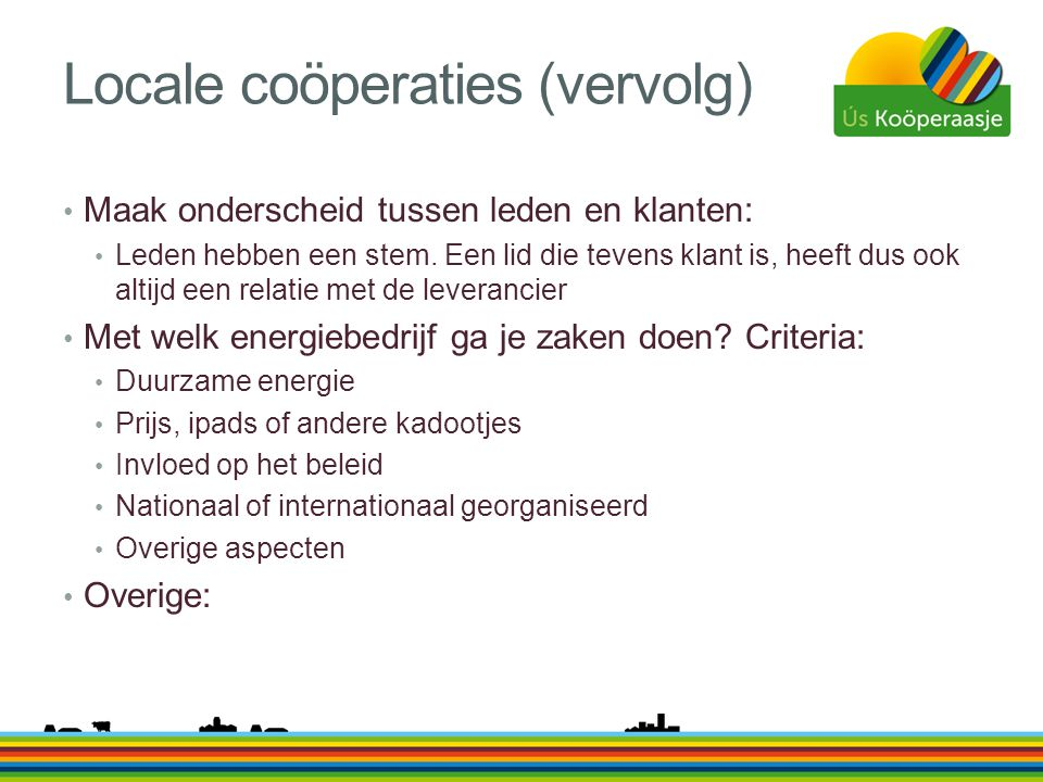 Locale coöperaties (vervolg)